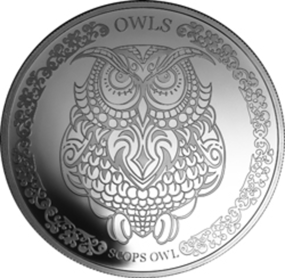 Reverse view of Tokelaun silver $5 showing the stylized Scops Owl, the first coin in a new series. (Image courtesy Treasures of Oz)