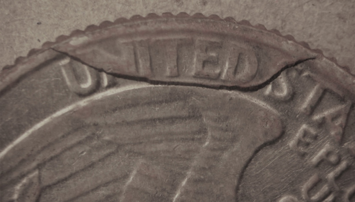 Figure 2 shows the result on a quarter of a retained die break that wraps itself around most of the word UNITED.