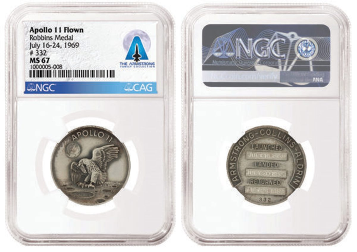 CAG-certified Apollo 11 Silver Robbins Medal #332, flown on the Apollo 11 Lunar Module. Graded NGC MS 67 and pedigreed to the Armstrong Family Collection. Images courtesy of NGC.