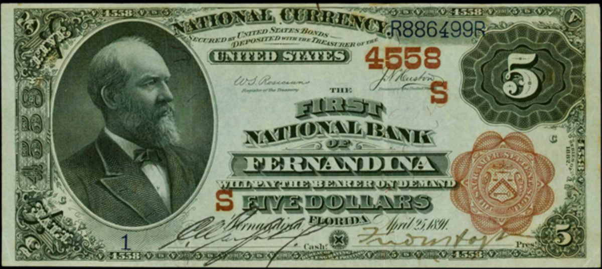A No. 1 1882 $5 Brown Back on The First National Bank of Fernadina, Fla. is expected to bring $40,000 to $60,000.