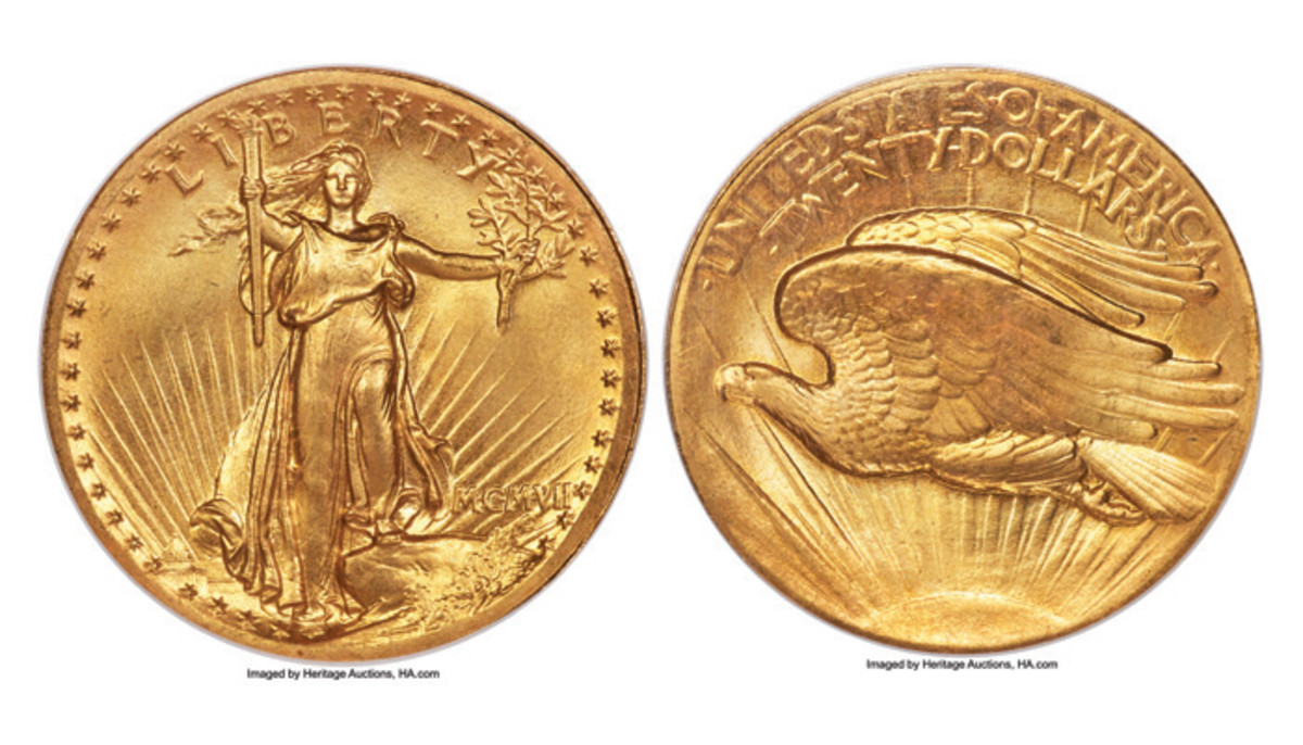 The 1907 double eagle being offered in Heritage Auctions' U.S. Coins Signature Auction. (Images courtesy Heritage Auctions)