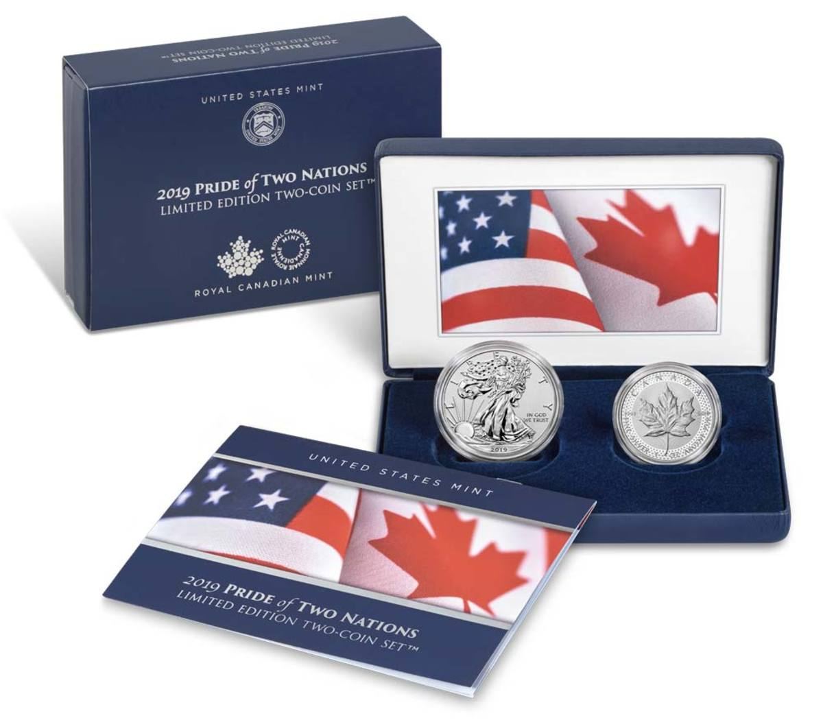 The coins are encapsulated and packaged in a handsome blue leatherette presentation case emblazoned with color imagery of the United States and Canadian flags on the inside cover. A classic outer blue box and matching outer sleeve cover the presentation case. (Image courtesy of the US Mint)