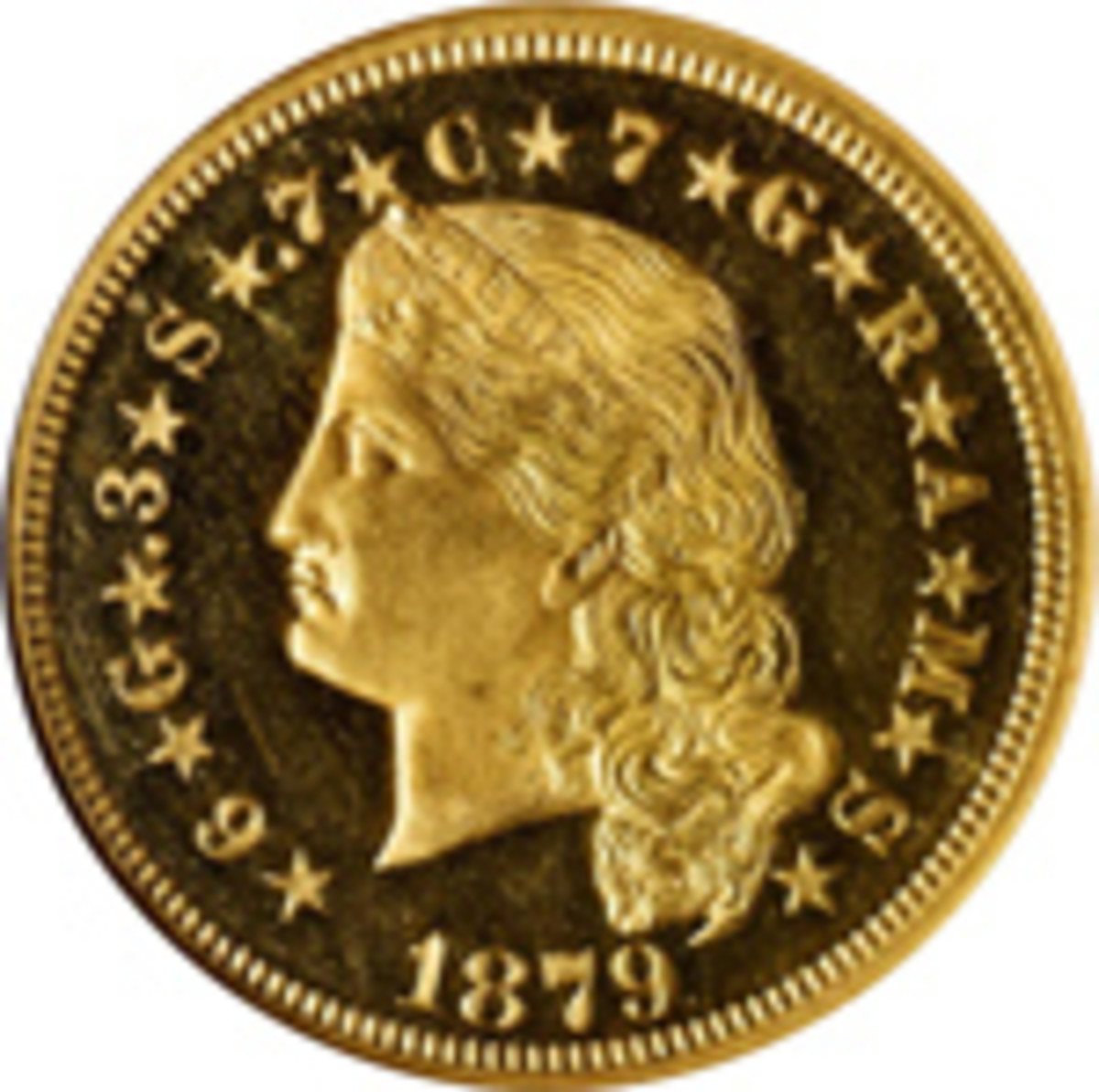 Lot 1137:  Gold was popular among bidders, which was especially true when lot 1137, a Proof-65 Ultra Cameo (NGC) 1879 Flowing Hair Stella, was bid all the way up to $240,000. (Image courtesy of Stack's Bowers)