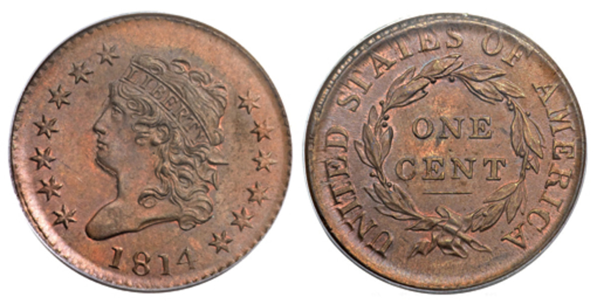 "A notable change in the 1808-1814 Classic Large Head is that instead of the word ""Liberty"" running above the bust, it has been incorporated into Liberty's headband. Values for these can range from $75 on up to $22,000, depending on condition."