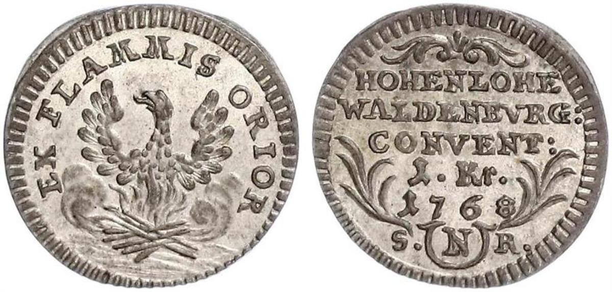 From the little German State of Hohenlohe-Waldenburg-Schillingfurst, a beautiful BU one year type Kreuzer from 1768.