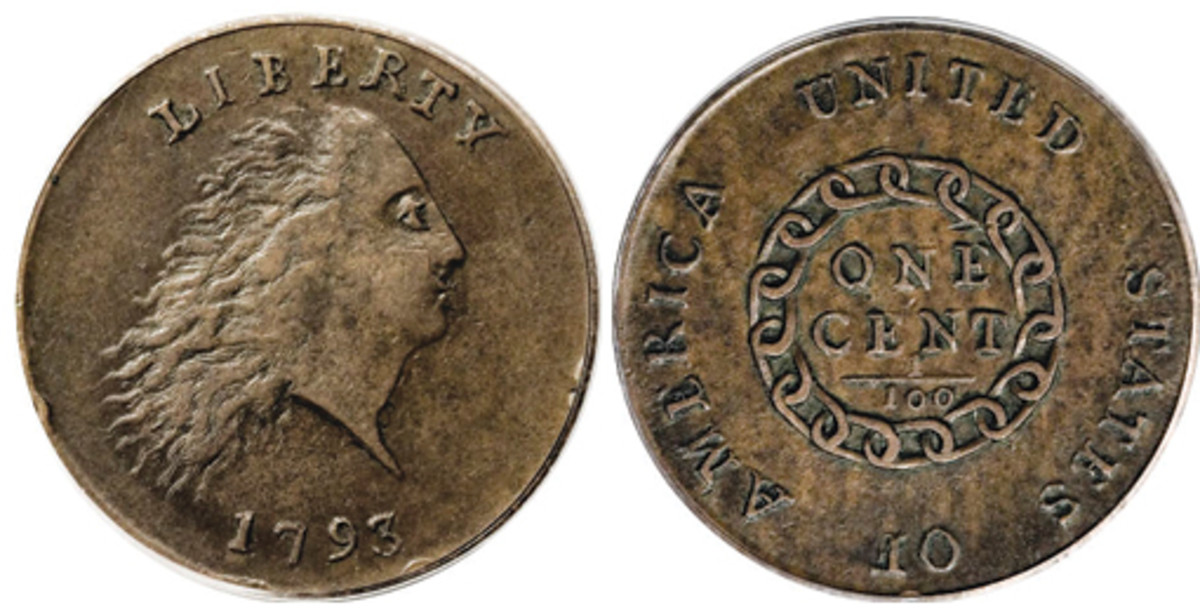 Designed by Henry Voigt, the first 1793 Large Cent with Flowing Hair with the chain reverse met criticism as many felt the chain represented slavery.