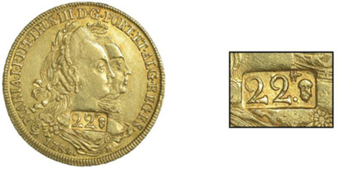 Obverse and countermark of extremely rare 22 livres of Guadeloupe (KM-5; Pridmore p.299, fig. 20) struck on a 6,400 réis of Maria I and Peter III. It realized $34,556. (Images courtesy DNW)