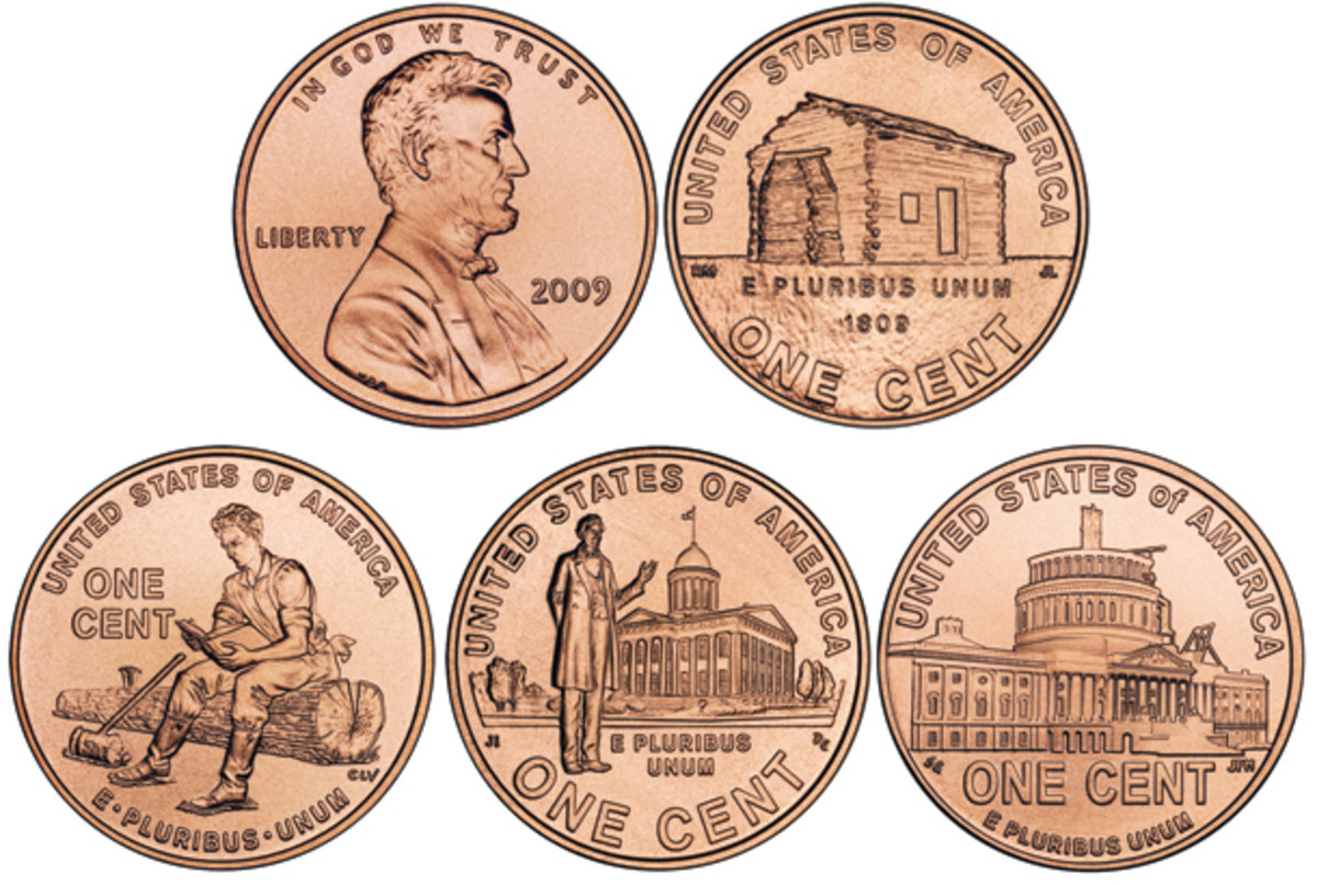 The 2009 Lincoln Bicentennial Cent was produced with four different reverses, depicting different facets of Lincoln's life, from the cabin in which he was born and an image of him splitting logs to Lincoln in front of the Illinois State Capitol and then eventually the U.S. Capitol building. (Images courtesy United States Mint)