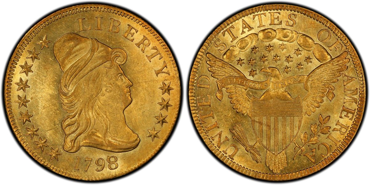 A 1798/97 gold eagle graded MS-62+ by Professional Coin Grading Service. (Images courtesy PCGS)