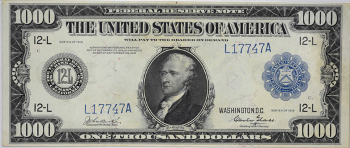 This $1,000 paper rarity from the Carlson Chambliss paper collection sold for $33,600.