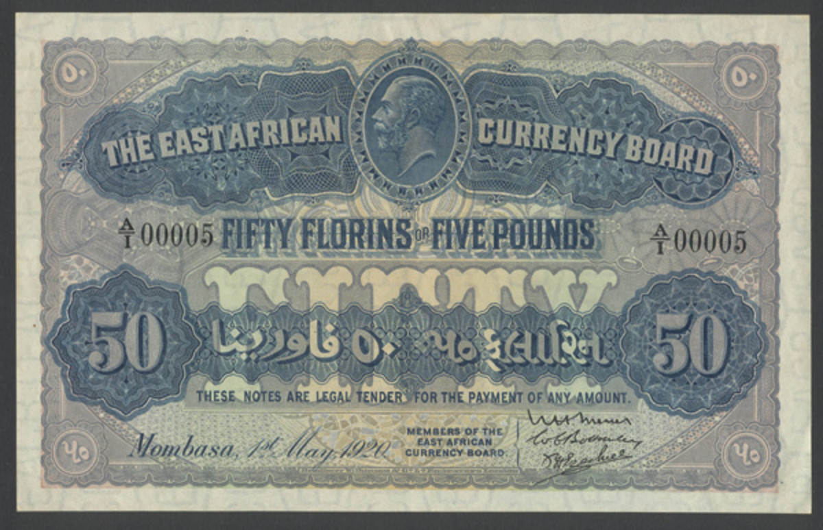 Rare East African Currency Board 50 florins (£5) of 1 May 1920 (P-12a) that found a new home for $79,140 in an extraordinary PMG 58 Choice About New grade. Note the wondrous A/1 00005 serial number. (Image courtesy and © Spink, London)