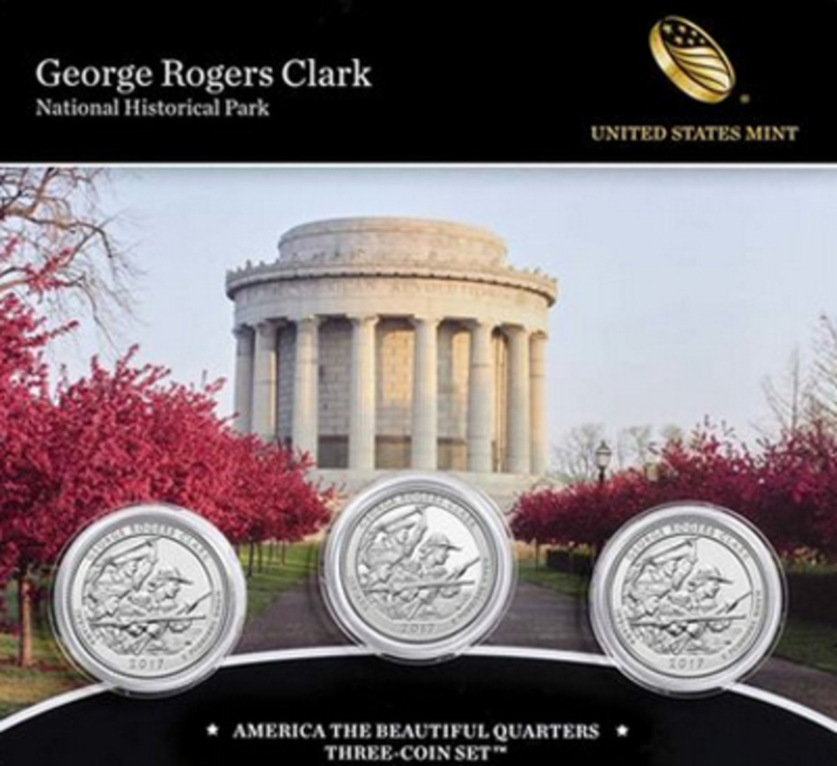 The final 2017-dated quarter in the America the Beautiful series honors George Rogers Clark National Historical Park.