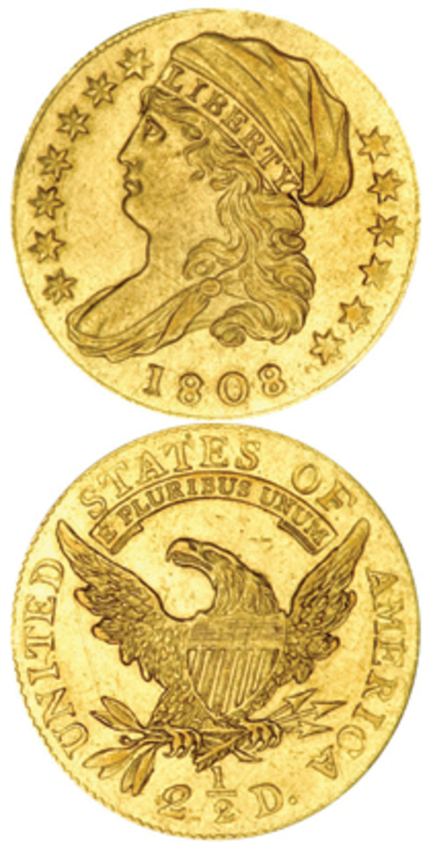 Struck for just one year in relatively small quantity, the 1808 gold half eagle with John Reich's new Turban Head design is a key type coin likely to only continue rising in price. (Images courtesy of www.usacoinbook.com)