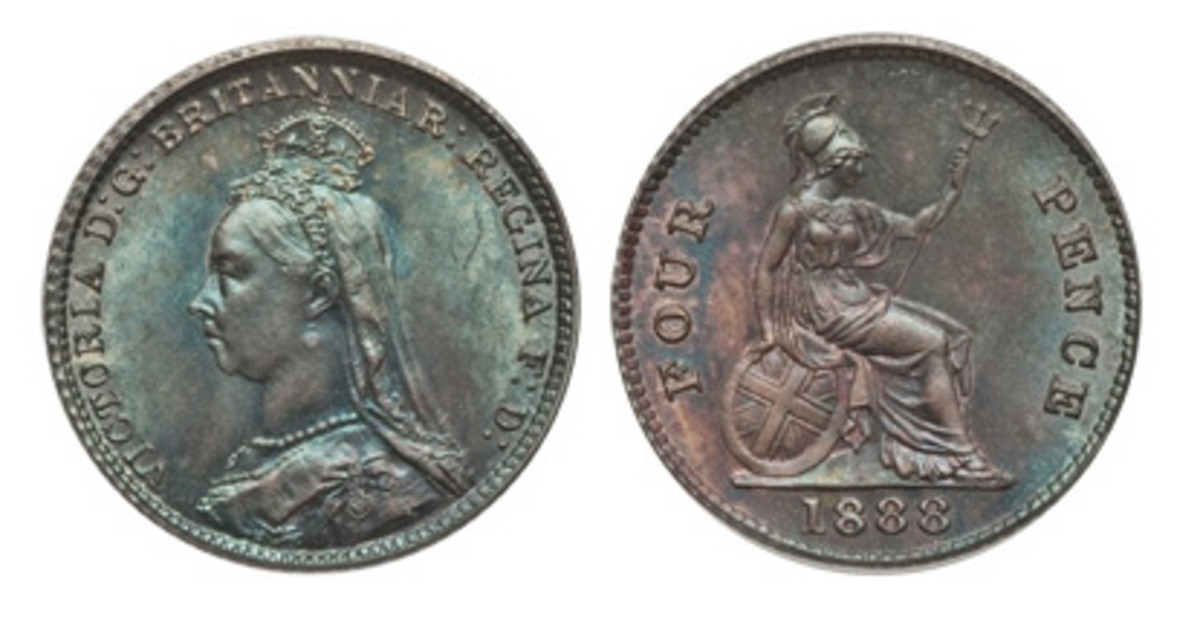 An example of the one-off 1888 silver groat (fourpence) of Victoria, KM-772, S-3930. The coin had been struck earlier for Victoria from 1837 to 1862 (KM-731.1, S-3913). (Images courtesy www.ha.com)
