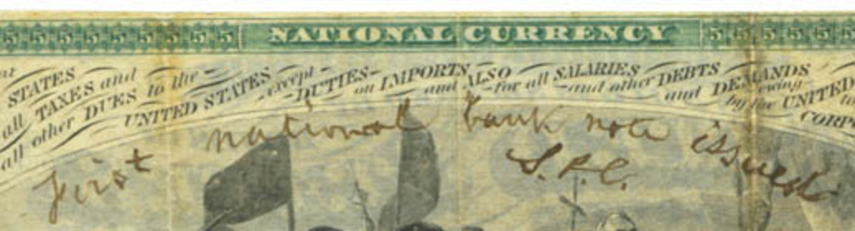 "The note has Chase's handwritten ""First national bank note issued, S.P.C."" on the back. (Photo courtesy of Mark Hotz)"