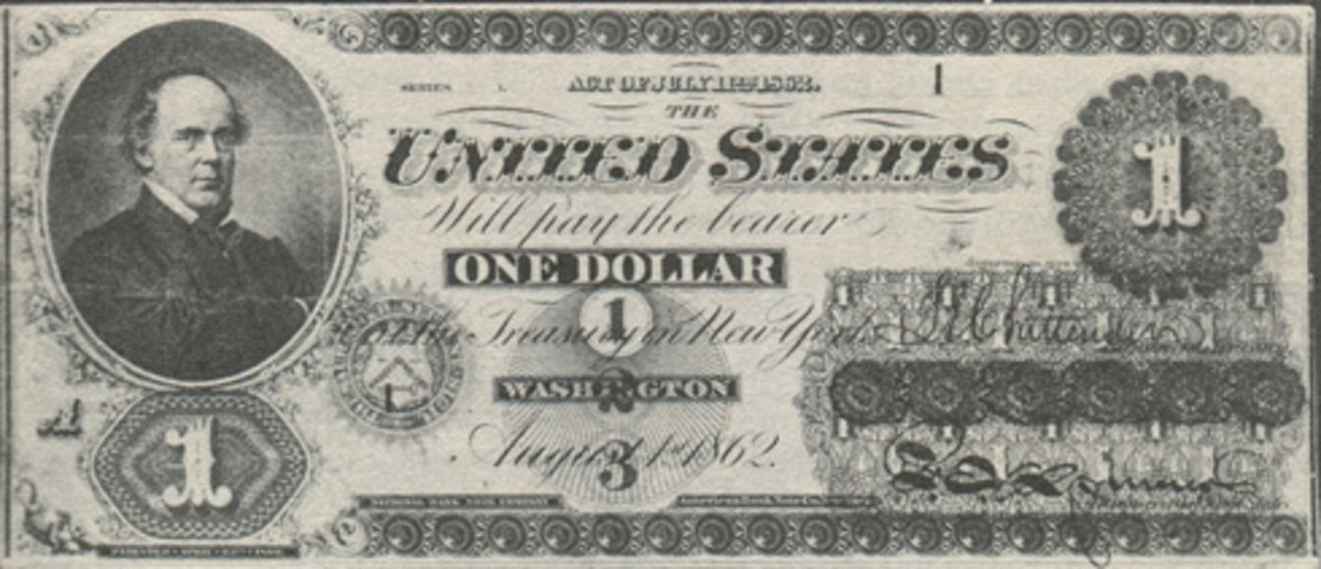Very first $1 1862 Legal Tender Note, Series 1, plate position A, serial 1. (Photo from Reinfeld (1960, p. 62) that he obtained from the Chase Manhattan Bank collection)