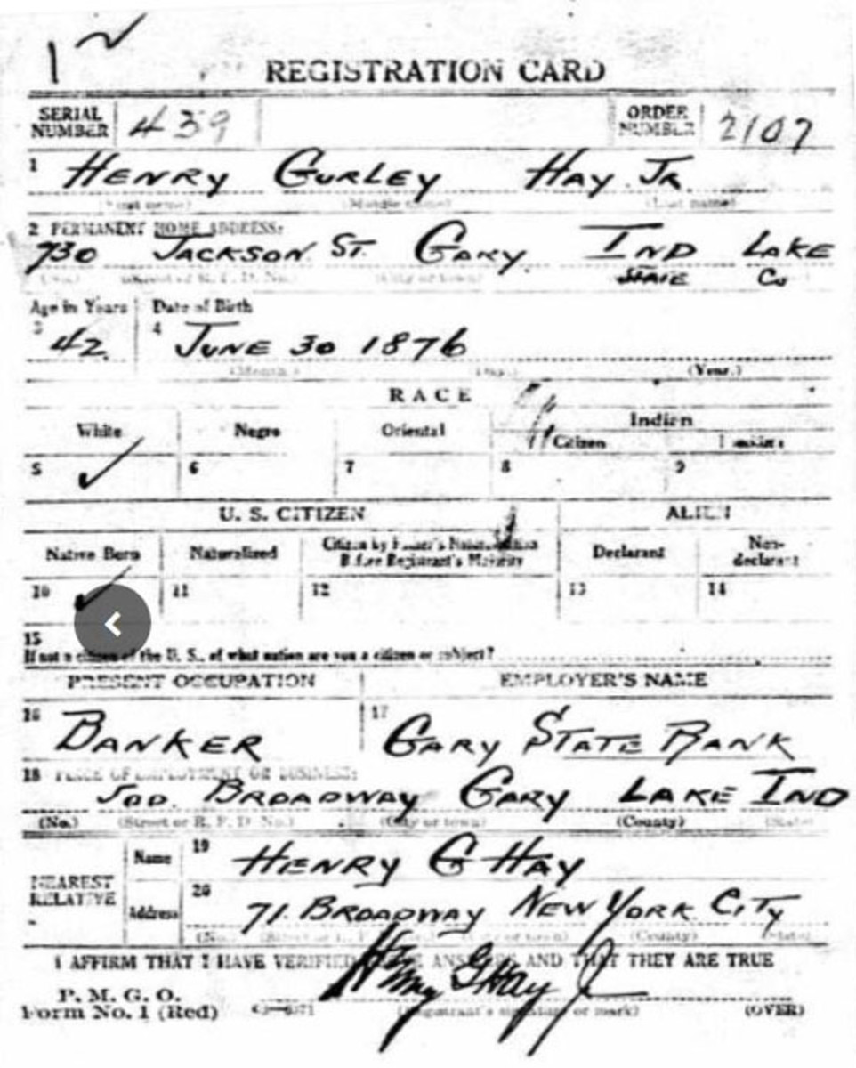 Henry G. Hay, Jr.'s World War I draft registration card with his signature that is an excellent match for that found on the Guernsey note.