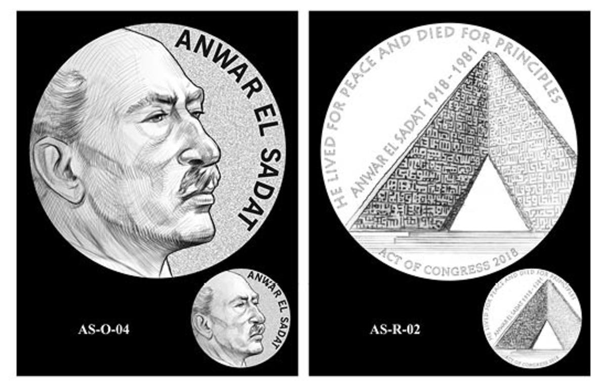 Images selected and recommended by the CCAC to be featured on the Anwar El Sadat congressional gold medal. (Images courtesy of the United States Mint)