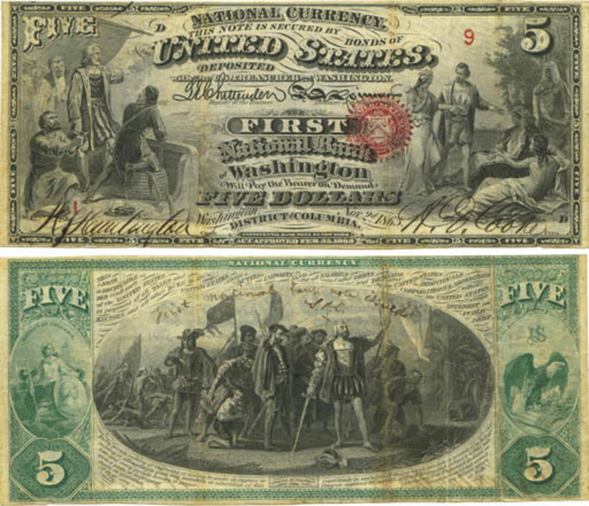 Bottom note from the first sheet of $5 National Bank Notes, Treasury sheet serial 9—the first Treasury serial used, bank sheet serial 1, plate position D. (Photo courtesy of Mark Hotz)