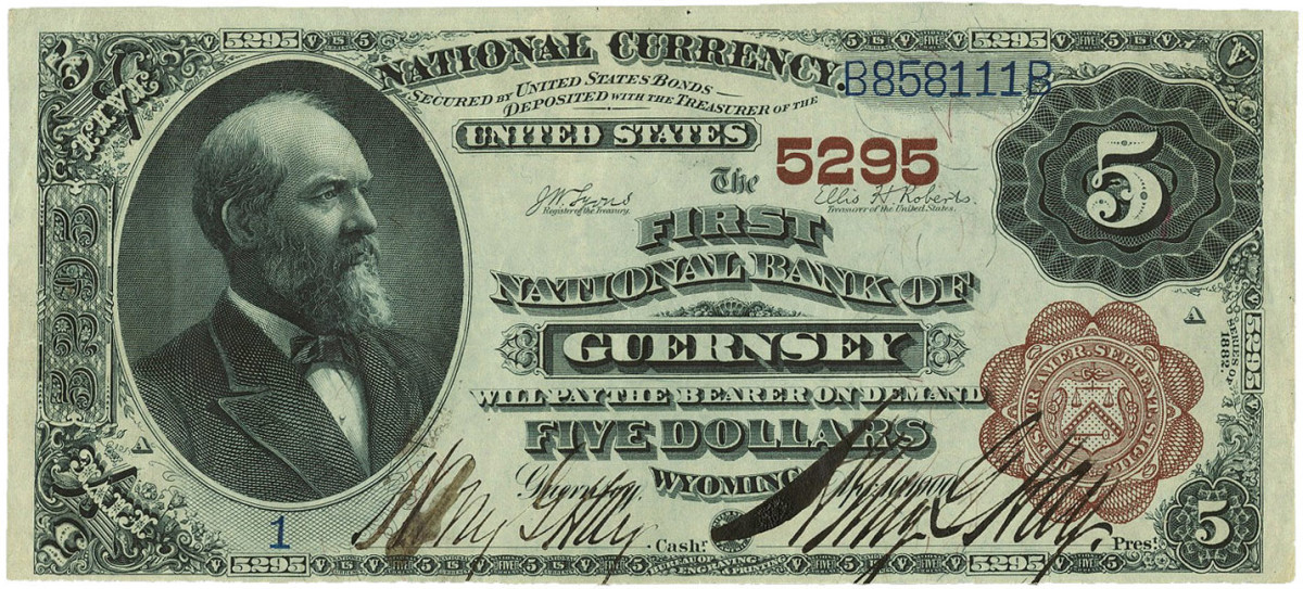 All 400 sheets of the $5 Guernsey notes that were printed were sent to the bank on Aug. 11, 1900. A highlight of this note from the top of the first sheet is the bold signatures of Harry G. Hay, cashier, and Henry G. Hay, president.