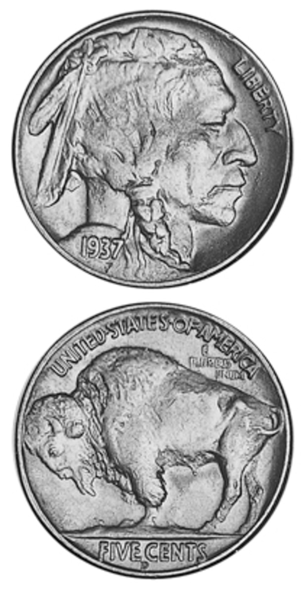 The loss of a limb on the 1937-D Buffalo nickel reverse probably resulted from too much regrinding of a die in order to remove clash marks.