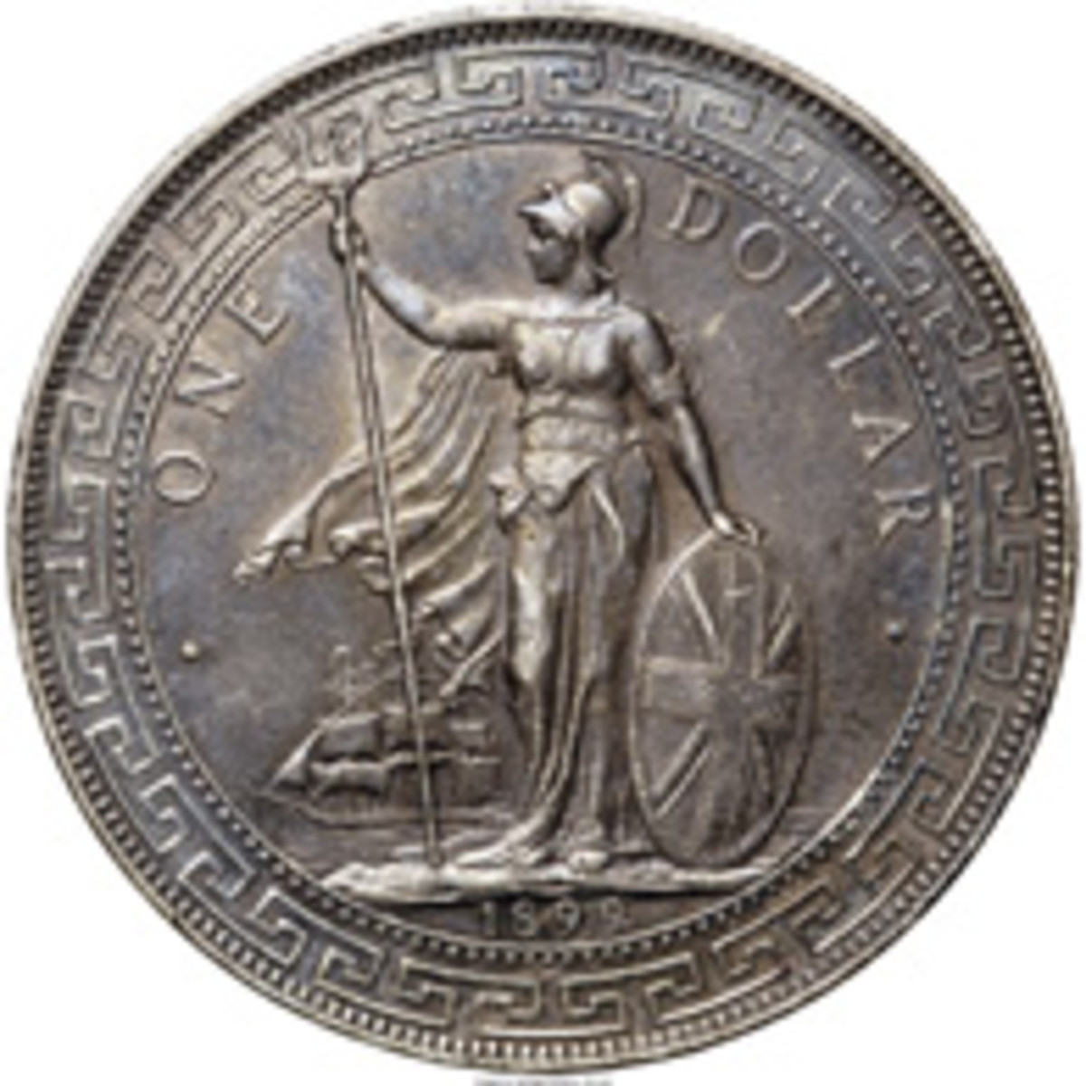 "Britannia Imperium – symbol of empire. Silver trade dollar of 1899, KM-Tn5. Britannia stands proud watchfully ruling the seas. The central prong of her trident carries the ""B"" mintmark of the Bombay Mint. (Images courtesy www.ha.com)"