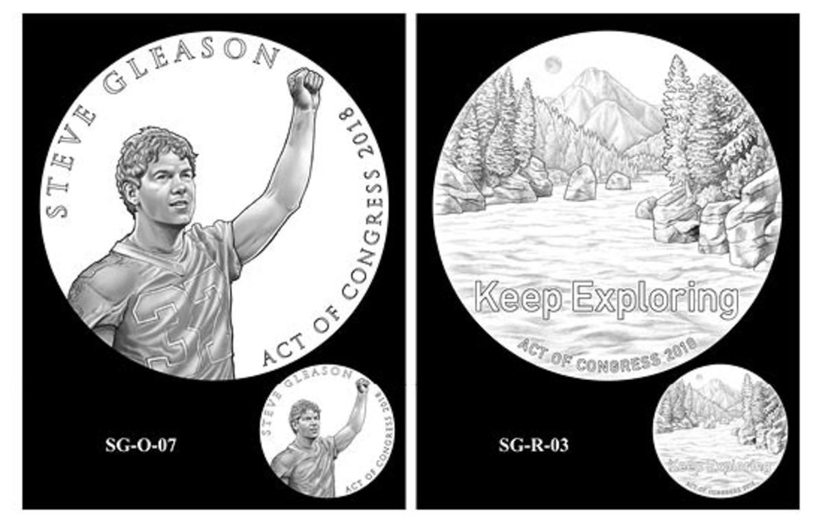 Obverse and reverse designs selected the CCAC for the Steve Gleason congressional gold medal. The committee did recommend some alterations to the designs, however. (Images courtesy of the United States Mint)