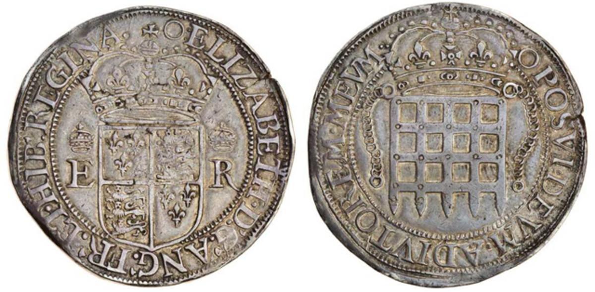 a rare Elizabeth I (1588-1603) silver portcullis 8 testerns. Image courtesy and