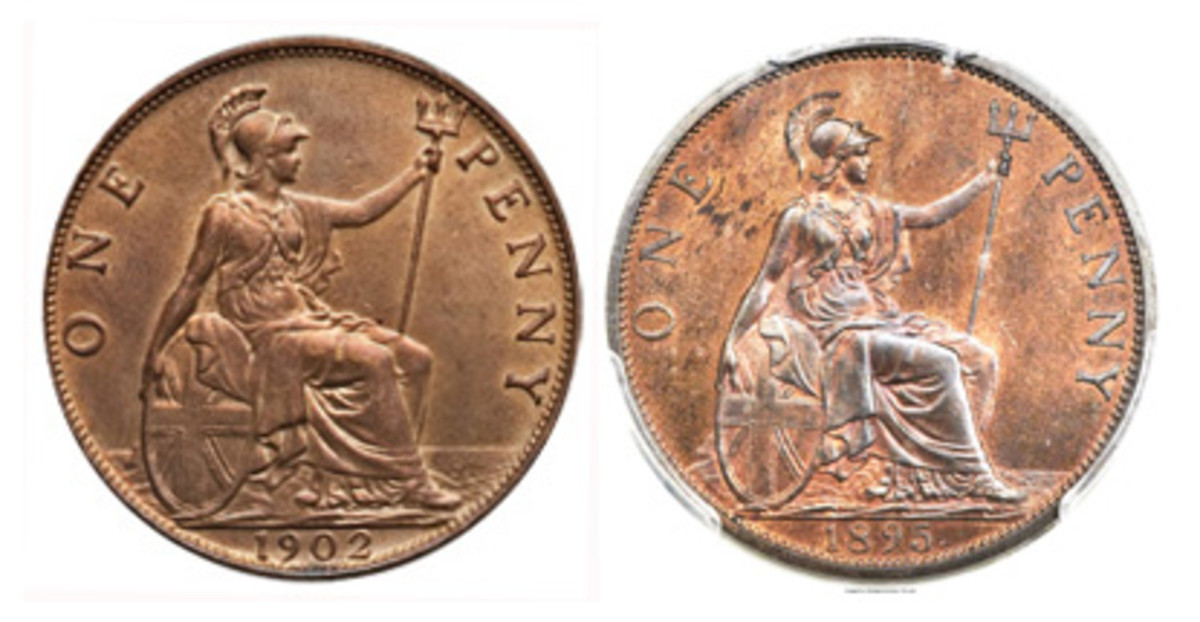 High tide on a 1902 bronze penny of Edward VII, KM- 810, S-3990 and low tide on an 1895 bronze penny of Edward's mother, Victoria, KM-789, S-3961. At high tide the water level is up to folds in Britannia's gown. At low tide it is no higher than the robe's hem at best with the top of the rock alongside Britannia's right foot uncovered. These tidal levels are often confused with the supertide appearing on Coombes' reworked Britannia used on the bronze coins of George VI and Elizabeth II. (Images www.ha.com)