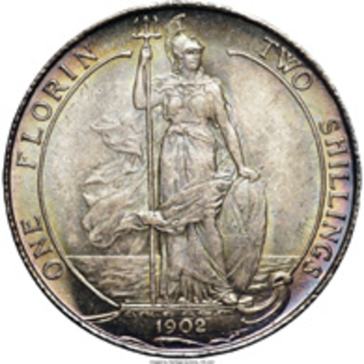 De Saulle's innovative Standing Britannia design for the reverse of the silver florins of Edward VII, KM-801, S-3981. (Image www.ha.com)