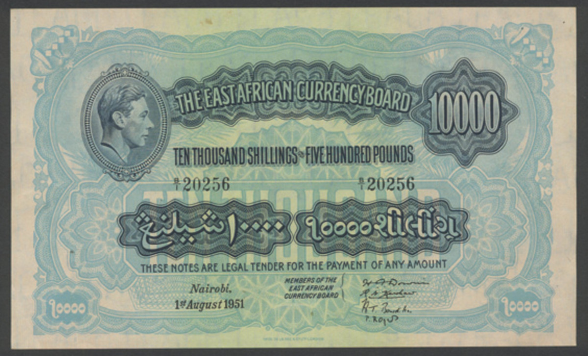 One of two known East African 10,000 shillings of George VI dated 1 August 1951 (P-32a) that realized $82,242 graded PCGS 63 Choice New at Spink's October sale of the Alan Pickering Collection. (Image courtesy and © Spink, London)