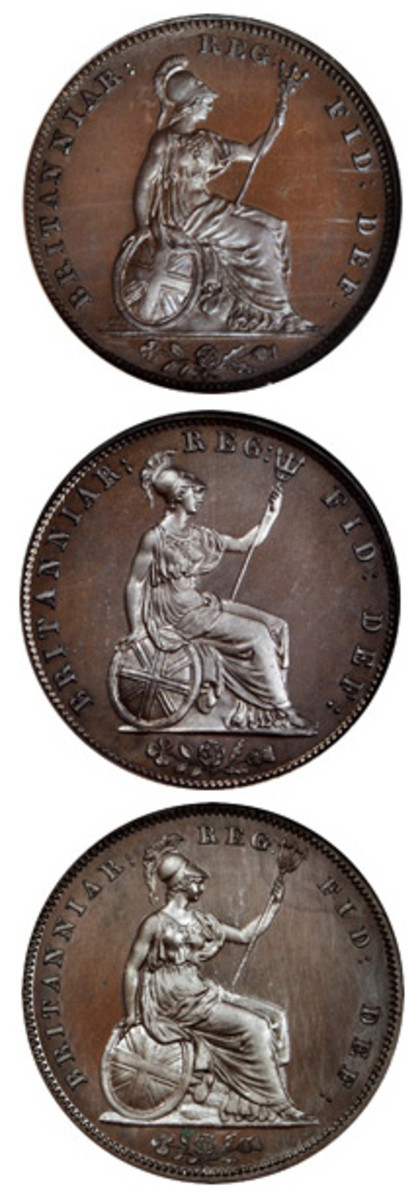 Role Model Britannia: William Wyon's 1820 makeover of Britannia on a farthing, halfpenny and penny. A Grecian helmet has been added to her ensemble of trident, shield and Grecian gown that together define the standard for Britannias to come. (Image courtesy Stack's-Bowers)