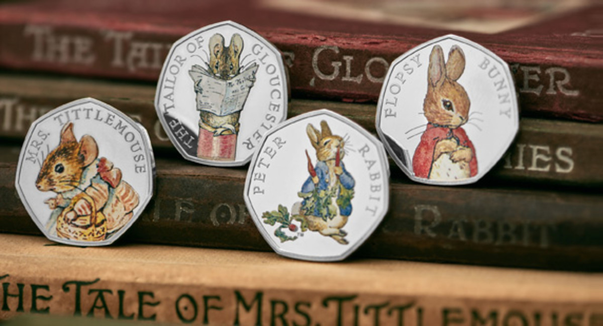 The vivid colors of Beatrix Potter's original hand painted illustrations are captured on the 2018 silver proof 50p reverses in the blue of Peter Rabbit's coat, the subtle red of Flopsy Bunny's jacket and the pastel tones in Mrs Tittlemouse's dress. (Image courtesy and © The Royal Mint)