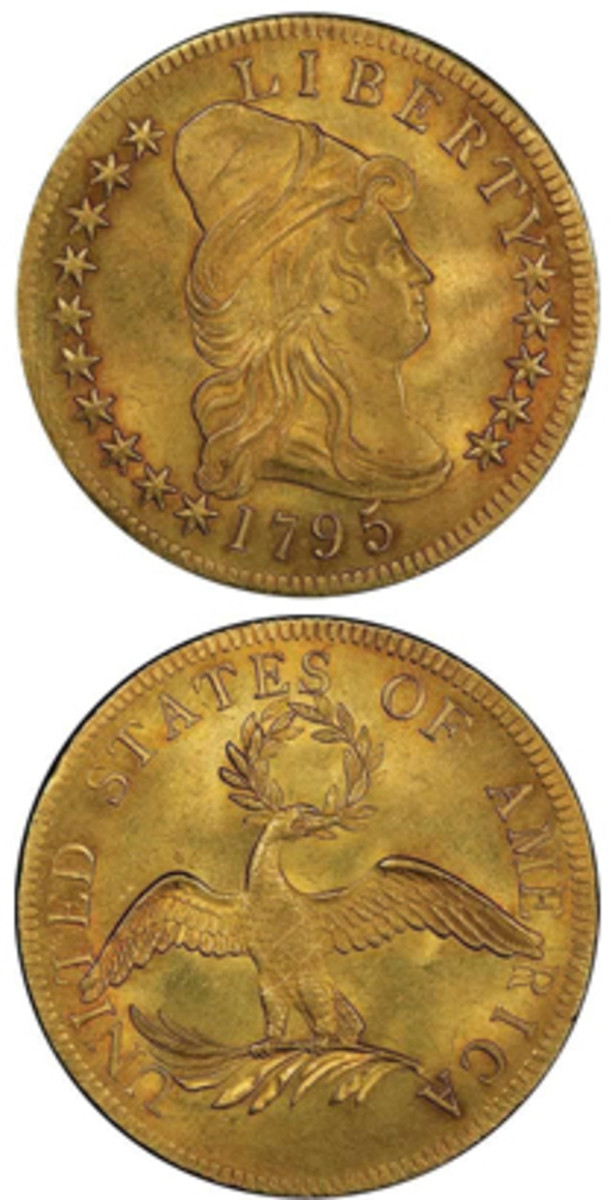 Taking top honors in the auction was this 1795 $10 gold piece, graded MS64+ by PCGS. Winning bid was $822,500. (Images courtesy Legend Rare Coin Auctions)