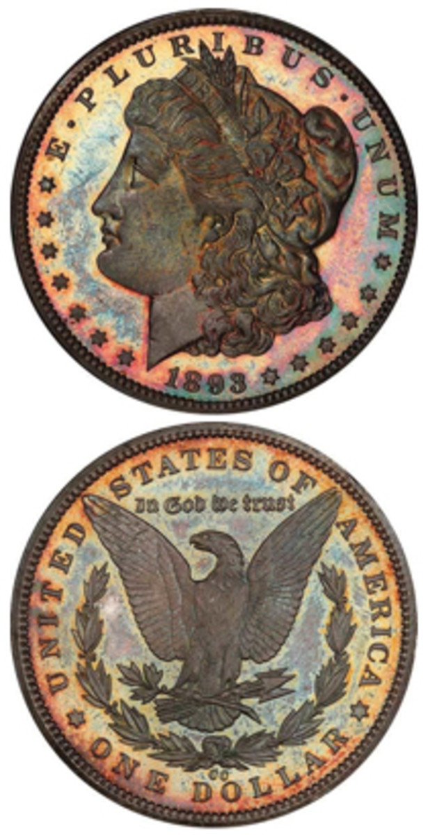 A Young-Dakota 1893-CC Branch Mint proof Morgan dollar realized $305,500. (Images courtesy Legend Rare Coin Auctions)