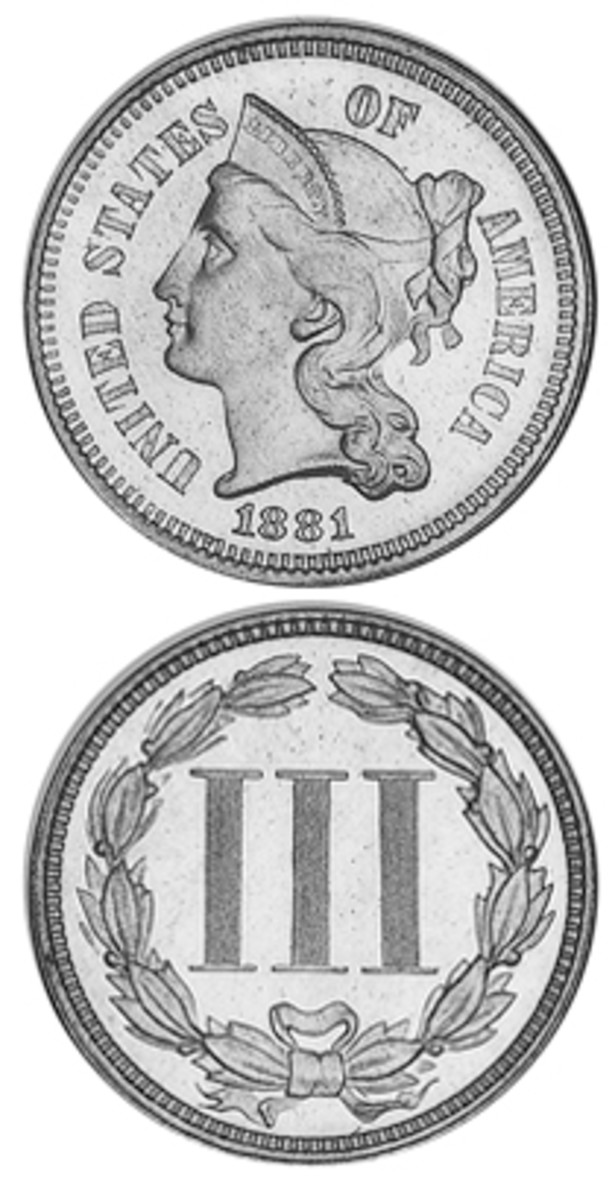 The nickel three-cent piece introduced in 1865 was another expedient to get some coins to circulate when the population was hoarding gold, silver and even the copper-nickel cents.