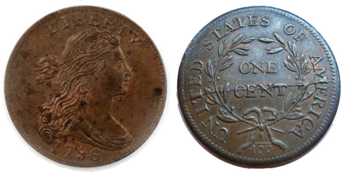 The 1796 Large cent that sold at the Wooley & Wallis sale.