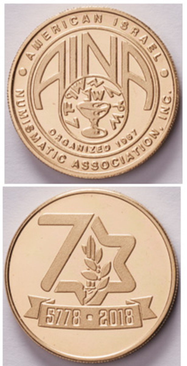 The membership medal for 2018 issued by the American Israel Numismatic Association features a reverse design chosen by online vote in Israel to mark the 70th anniversary of independence.