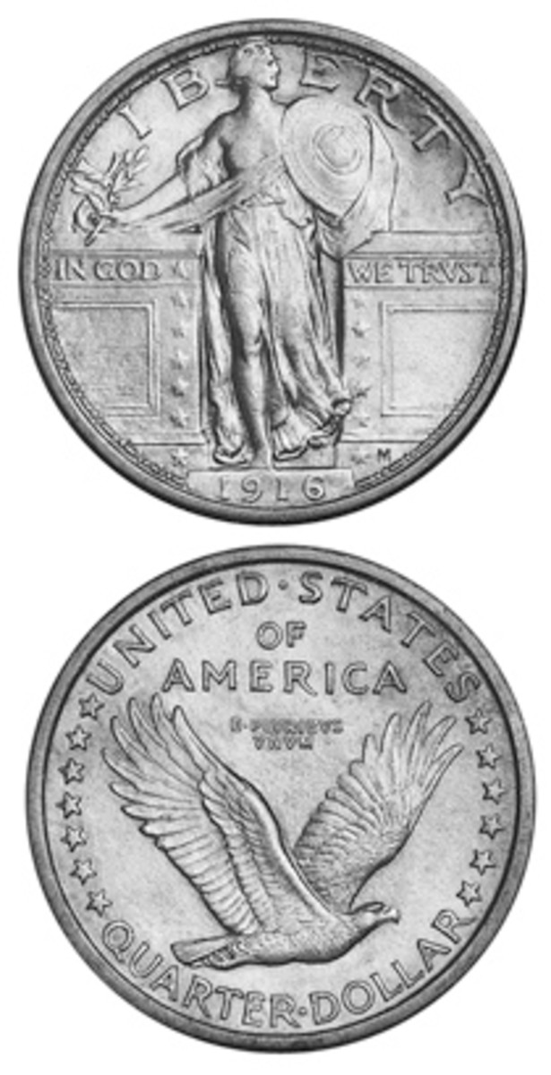 The 1916 Standing Liberty quarter is the key date. This and the 1917 Type I have the undraped bosom and no stars under the eagle on the reverse.