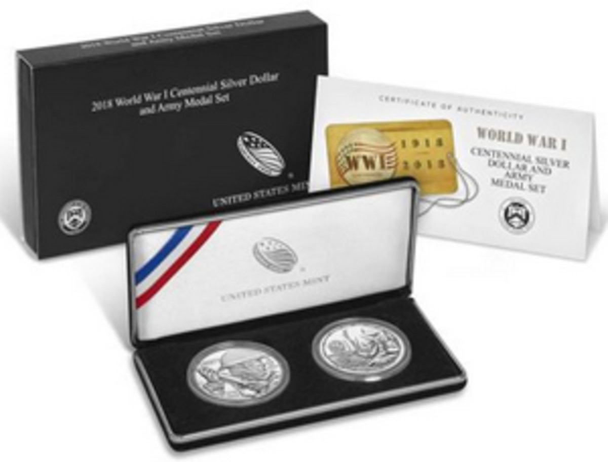 Shown above is the World War I Centennial 2018 Silver Dollar and Army Medal Set. Returns of this item, along with its Air Service, Navy, Marines, and Coast Guard counterpart sets, are currently being offered by the U.S. Mint. (Image courtesy usmint.gov)