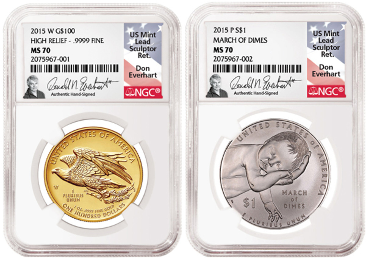 The special Everhart label is shown on these two slabs. The March of Dimes dollar, on the right, was the Coin of the Year's Most Inspirational Coin for 2015-dated coins.
