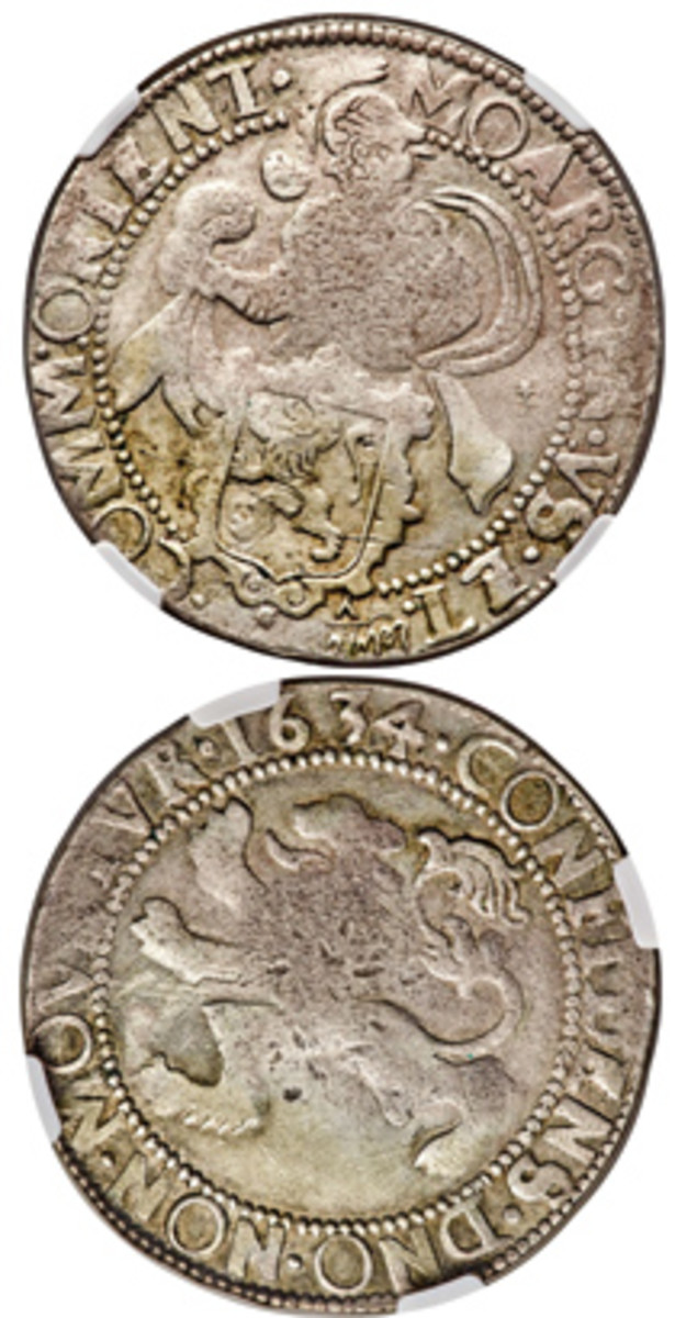 Obverse and reverse of a probably unique Dutch East Indies 7 shahis trade lion daalder dated 1634, ex. Dr. Hans Wilski Collection. It sold for $9,000. (Image courtesy www.ha.co)