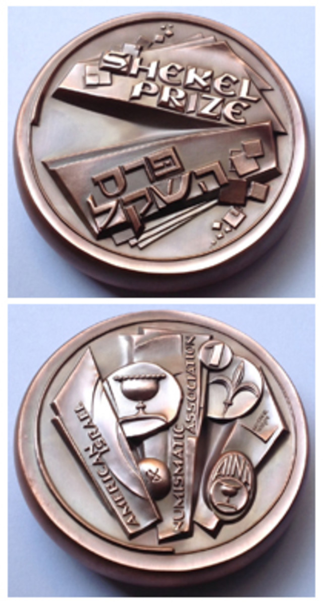 Ranking second in the American Medal of the Year competition was the Shekel Prize Medal done by Victor Huster for the American Israel Numismatic Association.