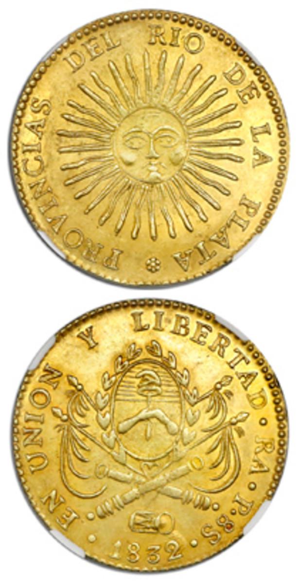 Argentina (River Plate Provinces), 8 escudos, 1832/1P, La Rioja mint, NGC MS 62.