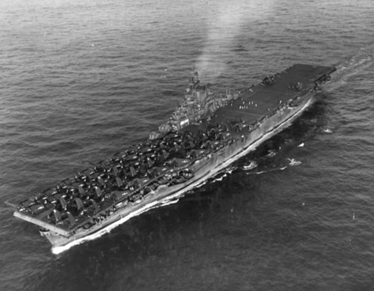 This photo shows the aircraft carrier U.S.S. Wasp circa 1945.
