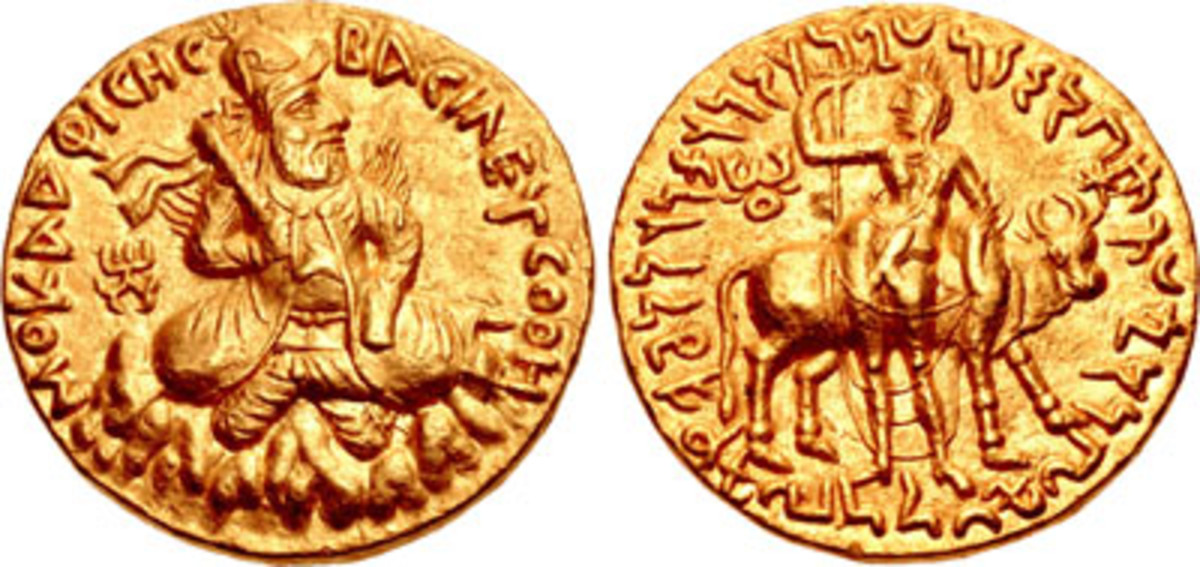 Bilingual Kushan double dinar struck at Baktria showing Vima Kadphises and Siva with Nandi. In EF it took $32,725. (Image courtesy & © CNG)