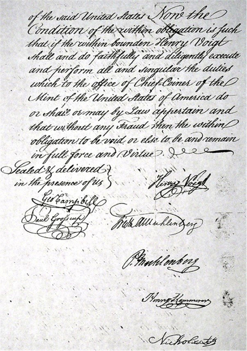 Henry Voigt's surety bond: second page with signatures.