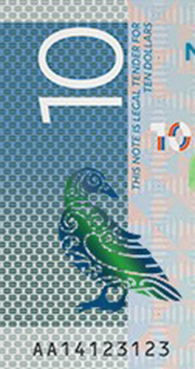 The contentious panel design behind the Blue Duck on the face of New Zealand's new $10 note. Image courtesy Reserve Bank of New Zealand.