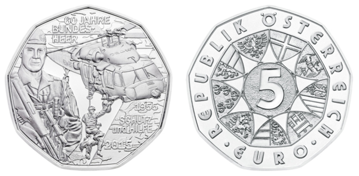 Obverse and reverse of the 2015 Austrian Federal Army commemorative 5 euro.