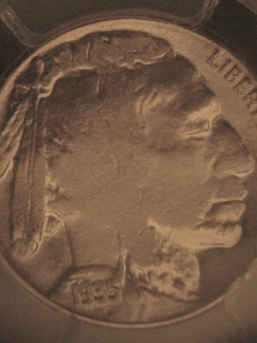 Obverse of a flatly struck Buffalo nickel.